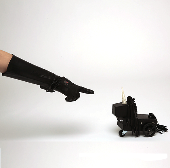 Leather Covered Unicorn Robot with Microchipped Control Glove